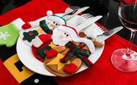 Wholesale Wholesale Pocket Knife Bag - Christmas props Knifes Folks bag Santa Claus Tableware Silverware Suit Holders Pockets Bag Christmas Kitchen Dinner Party Decorations