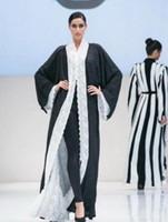 uzun resmi akşam kaplaması toptan satış-Uzun Kollu Döner Dantel Şifon Örgün Abiye Custom Made Balo Parti Abiye Kaftan Arapça Dubai Müslüman Yeni Stil Abayas Coat