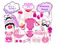 tarjetas de niños al por mayor-Hot Photo Booth Props Fotografía máscara de papel Tarjeta boy girl Para primer cumpleaños 1 baby shower
