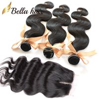 Wholesale Mixed Length Brazilian Full Head - Full Head Weaves Closure Top Closure piece(4x4)Body Wave Hair Extensions Brazilian Hair Weaves With Closure Middle Part Bellahair 7A