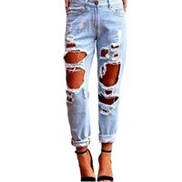 Wholesale long ripped skinny jeans women - 2017 Fashion Women Jeans With Hole Ripped Autumn Mid Waist Skinny Jeans Casual Sexy Party Club Plus Size Loose Woman Jean