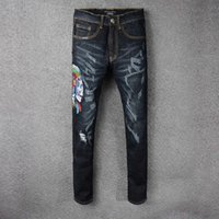 New Italy Designer Style Uomo Distressed Scratches Indians Skull Embroidery Skinny Pants Nero Denim Jeans Slim Pantaloni fear of god Robin