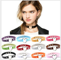 Wholesale Wholesale Goth Jewelry - 34 Color Goth Style Leather Choker Womens Alloy Heart Charm Ring Collar Funky Necklace Fashion Jewelry Handmade Valentine Gift AA0085