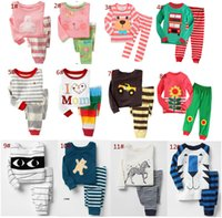 Wholesale Wholesale Kid S Pajamas - Spring autumn kids pajamas set 100% cotton children sleepwear stripe pajamas suit top+pants 2 pcs for 2~7Y kids 6 s l