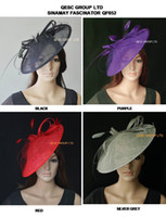 Wholesale Kentucky Derby Fascinator - BIG Sinamay Disc Fascinator hat.diameter 35cm, with Feather and Veiling for Kentucky Derby,wedding,church,races,4 colors