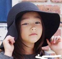 Wholesale Hat Model Child - 2016 new Parent-child models Autumn and winter woolen hat baby girl woolen hat large brimmed felt hat Fashion kids fedora