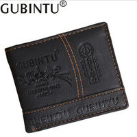 Wholesale Men Checkbook - Gubintu brand Solid Men's PU leather wallet with coin pocket man purse card holder for male money bag