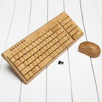 Wholesale Wholesale Bamboo Keyboards - Multimedia Bamboo Wireless Keyboard 2.4GHz Handmade Wooden Wireless Keyboard &Mouse Wood Combos Set for Home Office Computer laptop Notebook