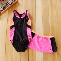 Wholesale 7t Bodysuit Kids - 7-14T baby girls Contrast color swimsuit 2 pcs bathing suit for kids Sun Block Swimwear Bodysuit + Skirt Beach Wear