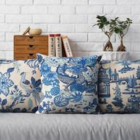 Wholesale folding sofas - 45cm Japan scenery ship folding fan Cotton Linen Fabric Waist Pillow 18inch Hot Sale New Home Decorative Sofa Car Back Cushion