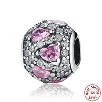Wholesale Genuine Pandora Bracelets - Shimmering Heart Pave Ball Silver Charms with Clear and Fancy Pink Cubic Zirconia Genuine 925 Sterling Silver Fit Pandora Bracelets S309