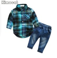 Wholesale Boys 24 Months Jeans - Cute Infant Baby Boy Clothes Blue Plaid jumpsuit+ Jeans Baby Long Sleeve Baby boy Clothing Set