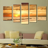 Wholesale Natural Oil Paintings Canvas - 5 Picture Combination Modern Yellow Color Sunset Seascape Paintings Natural Scenery Oil Painting Large Painting Canvas Home Wall Decoration