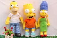 Wholesale Homer Simpson Plush Doll - 3pcs lot New Anime Cartoon The Simpsons Homer Marge Bart Simpson Plush Toys Soft Stuffed Dolls For Baby Gift MK24 1230#30