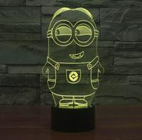 Wholesale Halogen Sensor Light - Lovely 3D Illusion Bulbing Sensor Night Light LED Minions Toy Electronic Home Bedroom Decor Table Lamp Nightlight Child Gift