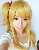 Wholesale Blonde Lolita - Wholesale-High Quality Fairy Tail Wig Lucy Heartphilia Blonde Wig Harajuku Wigs Lolita Anime Cosplay Wigs hair