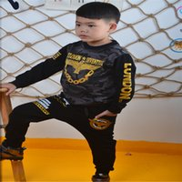 Wholesale Boys Cool Sweaters - Boys Sweater Casual Sweater Round Neck Long Sleeves Black Gray Outwear Kids Clothing Cool Camouflage Shirt