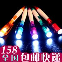 ingrosso torcia elettrica della sfera-Penna a sfera a LED torcia luminosa luminosa novità regalo creativo di cancelleria all'ingrosso