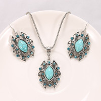 Wholesale Ellipse Necklace - New Fashion Antique silver plated Pendants & pendants Necklace Ellipse Turquoise Earrings Necklace Suits For Women Free shipping