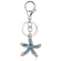 Moda Silver Color Metal Lobster Clasp Keyring Dangle Rhinestone Esmalte Starfish Animal Charm Keychains para mulheres Jóias