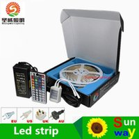 Wholesale Christmas Led Gift Boxes - DHL free Led Strip Light RGB 5M 5050 SMD 300Led Waterproof IP65 + 44Key Controller + 5A Power Supply With Box Retail Package Christmas Gifts