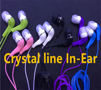 Wholesale Iphone Headphones Crystal - Mini 3.5mm headphone Crystal line In-Ear Earphones Earbuds For iphone samsung smart phone mp3 mp4 Hot sell