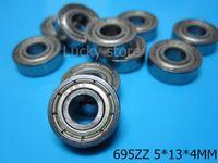 Wholesale Ball Bearing Abec - 695ZZ ABEC-5 bearings 10pcs Metal Seal Miniature Bearing Free shipping 695 695Z 695ZZ 5*13*4 MM chrome steel deep groove bearing