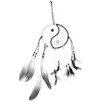 Wholesale Beautiful Design Taiji Dream Catcher with Bead Feather Religious Mascot Gift Home Or Car Hanging Decoration Ornament cm