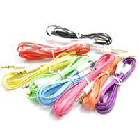 câble de rallonge plat pour nouilles achat en gros de-Nouilles Plat 3.5mm Noodle Audio Aux Câble Coloré Auxillary Music Car Mâle à Mâle Rallonge Audio Stéréo pour Lecteur Mp3 Samsung