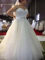Wholesale Glamorous Empire Sweetheart Dress - Plus Size Wedding Dresses Sweetheart Beading A Line Sweep Train Glamorous White Dress For Bridal Vestidos De Noiva Custom New Amazing 2017