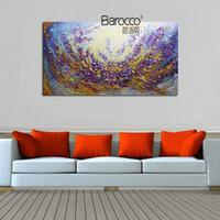 extracto de aceite púrpura al por mayor-100% pintura al óleo pintada a mano sobre lienzo flores púrpuras modernas pinturas abstractas decoración de arte de pared para el hogar u oficina