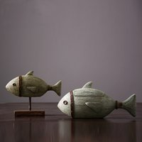 Wholesale Silicone Fish Plant - 2016 Top Qulaity Resin Part of American country resin handicraft furnishing articles Archaize Vintage Fish and Storage Fish wholesale Heri