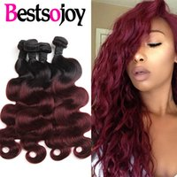 Pièces D'extension De Cheveux Rouges Pas Cher-Ombre Malaisie Body Wave Virgin Human Hair Extensions 2 Deux tons 1B / 99J Vin de Bourgogne Rouge Malais Remy Human Hair Weave 4 Bundles