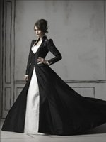 Wholesale Stylish Bridal Dresses - Stylish Black Gothic Wedding Dresses With Long Sleeves Overcoat Lace Applique Beaded Bridal Dress Wedding Gown Cathedral Train Custom Made