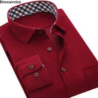 camisa de pana para hombre l al por mayor-Venta al por mayor-2016 de moda para hombre Overshirt manga larga Vintage Flannelette Corduroy camisa color sólido Casual hombres ropa Social