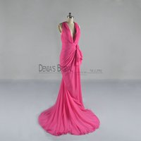Wholesale plunge chiffon dress - 2017 Rosy Sheath Evening Dresses with Plunging V Neck Sleeveless Sweep Train Back Criss Cross Straps Side Split Ruching Bow Party Prom Gowns