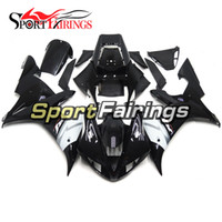 Full Motorcycle Gloss Black White Decals Fairings Pour Yamaha YZF1000 R1 02 03 2002 2003 Injection ABS Carénages Carrosserie de moto Cowlings