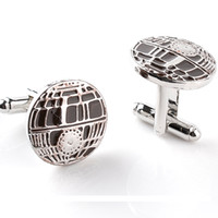 Wholesale China Wholesale Star Wars - China Factory Mens French Cufflinks Star Wars Recessed Matte Death Star Cuff links Silver Brand Enamel cuff Botton Whosale 6