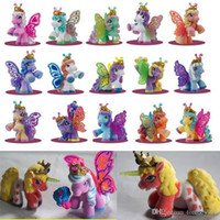 Wholesale Flocking Packing - action figures 10 pcs set Simba Filly Butterfly Stars Witchy Unicorn Little Horse Plush Dolls Flocking Process Opp Bag Packing Kid Gift Toy
