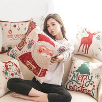 Wholesale Xmas Throw Pillows - Christmas Pillow Case Xmas Tree Santa Claus Deer Elk Cotton Linen Throw pillow Cushion Cover Christmas Decor Pillow covers 45*45cm