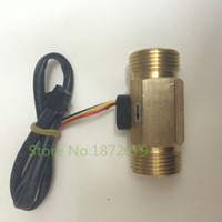 "Wholesale Hall Effect Water Flow - Wholesale-2pcs  lot 3 4"" DN20 water diesel Brass Hall effect Turbine flow sensor meter"