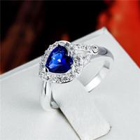 Wholesale Diamond Shape Rhinestone - Women's love Full Diamond Heart-shaped ring 925 silver Ring STPR014A brand new blue gemstone sterling silver finger rings