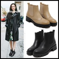 Wholesale Ankle Bootie Shoes - Retro Wind Carved PU Leather Boots Womens Chelsea Boots Shoes Ankle Bootie Beige Black Size 34 to 39