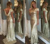 Wholesale Junior Wedding Gown Long Sleeve - Champagne Gold Sequins Long Bridesmaid Dresses 2016 Sparkly High Neck Short Sleeve Backless Wedding Party Gowns Maid of Honor Dresses Junior