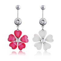 Wholesale Petal Acrylic Rhinestones - 3pcs lots 2016 Fashion Arrival Clear Rhinestone 5 Petals Flower Navel Button Belly Ring Dangle Body Piercing