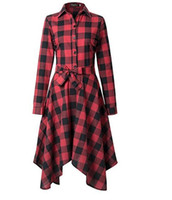 Wholesale Designer Ladies Shirt - New Women's Fashion Shirt Dresses 2017 Autumn Long Sleeve Hot Sell Printed Plaid Street Style Slim Lady Long Designer OL Dress Black Red