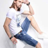 Wholesale Europ Style - Wholesale-Summer 2016 Men's short jeans High-quality with Europ & US style small straight pants Men's thin section jeans