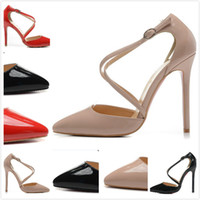 New Womens Sexy Pointed Toe 12cm Cross Strap High Heels, Senhoras Thin Heel Patent Leather Pumps Shoes de vestido35-42Free shipping