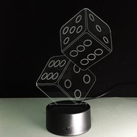 Wholesale Round Dice - 2017 Dices 3D Optical Illusion Lamp Night Light DC 5V USB AA Battery Wholesale Dropshipping Free Shipping Retail Box