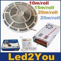 Sincrono 10m 15m 20m 25m SMD 5050 IP65 impermeabile RGB LED Light + Nuovo 2.4G RF Remote Control + Power Supply